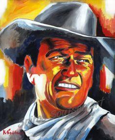 John Wayne painting portrait, Hondo (1953) movie poster