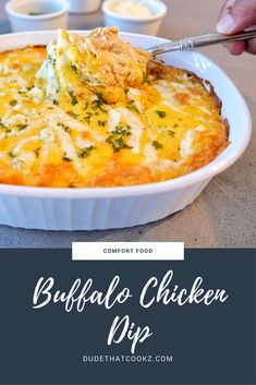 My Buffalo Chicken Dip is a great go-to dish for any game day. Serve with a side of pita chips, tortilla chips, and/or celery stalks. #dips #gamedayrecipes #recipes #chicken