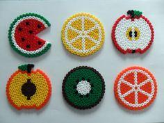 Fruit Salad hama bead Coasters by floresdecelofan