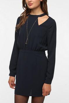 Sparkle & Fade Silky High-Neck Cutout Dress