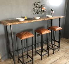 Bespoke Reclaimed Wood Breakfast Bar Table available in five colours and four different lengths. Bespoke sizes available. Small Breakfast Bar, Breakfast Bar Table, Breakfast Stools, Table Reglable, Home Bar Table, Kitchen Bar Tables, Kitchen High Chairs, Small Bar Table, High Table And Chairs