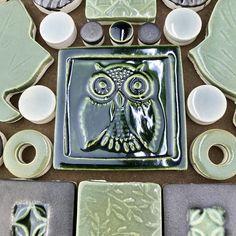 Ceramic Tile Art, Mosaic Tiles, Sanded Grout, Pastel Background, Tile Projects, Little Owl, Vintage Stamps, Handmade Ceramic, Leaves