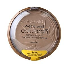 Wet n Wild Color Icon Collection Bronzer SPF 15 in Reserve Your Cabana  Walgreens | $4  Works the same as Ambient Lighting Powder/Mary Lou-Manizer... subtle highlighter or all-over radiant glow finishing powder!