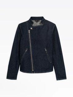 blouson en denim bleu avec dessin au dos | agnès b. Bomber Jacket, Leather Jacket, Jackets, Collection, Fashion, Down Vest, Blue, Drawing Drawing, Studded Leather Jacket