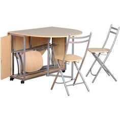 Budget Compact Dining Set - Foldaway - Butterfly Dining Table and 4 Chairs Beech and Silver