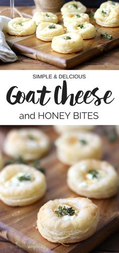 Easy Goat Cheese and Honey Bites Savory Goat Cheese and Honey Bites are the perfect appetizer recipe for your next gathering or holiday party. Flaky pastry topped with creamy goat cheese, sweet honey and thyme make an easy entertaining idea! Snacks Für Party, Appetizers For Party, Appetizer Recipes, Appetizer Dessert, Appetizer Ideas, Nibbles Ideas, Salmon Appetizer, Canapes Recipes, Dinner Recipes