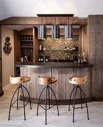 Top 70 Best Rustic Bar Ideas - Vintage Home Interior Designs From distressed wood to stone and brick, discover the top 70 best rustic bar ideas. Explore cool vintage home interior designs for sipping down drinks. Home Bar Rooms, Diy Home Bar, Home Bar Decor, In Home Bar Ideas, Modern Home Bar Designs, Bar Interior, Home Interior Design, Rustic Basement Bar, Basement Bar Designs