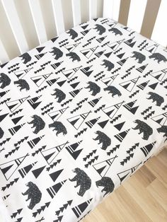 Beautiful unique fitted crib sheets, for your babys cot. Elske sheets feature stylish prints and best quality fabrics - we will snuggle your baby in the best of style and quality. Print :: Bear and teepees Fitted Cot Sheet :: Elasticised around, fits all cots up to 135cm long x
