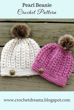 Pearl Beanie, Puff Stitch Crochet Hat Pattern