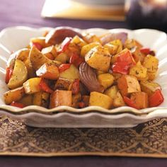 Roasted Vegetable Medley Ingredients 3 Yukon Gold potatoes, cut into small wedges 2 medium sweet red peppers, cut into 1-inch pieces 1 small butternut squash, peeled and cubed 1 medium sweet potato...