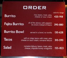 Chain Restaurants Display Calorie Information… But Will It Lead To Healthier Decisions? (Pictured: Chipotle menu board)