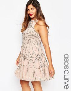 ASOS CURVE Pretty Skater Dress With Metal Embellishment UK 22/EU 52/US 18