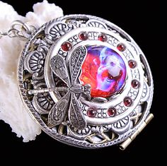 Mexican Opal Necklace Dragons Breath Wiccan Locket Necklace.  Working Compass Follow Your Dreams