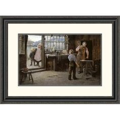 Global Gallery 'His First Day at Work (Child Apprentice with Blacksmith)' by Hamlet Bannerman Framed Painting Print Size: 2