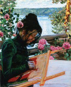 Akseli Gallen-Kallela, Mary sewing in Kalela. (Finnish, 1865-1931)