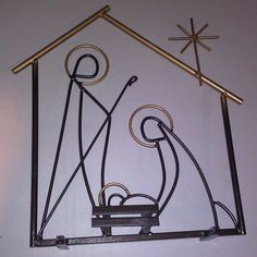 Vintage Folk Art Iron Metal Welded Nativity Scene Joseph Mary Jesus Star
