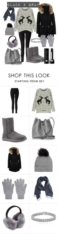 """""""black and gray"""" by salypimienta on Polyvore featuring Miss Selfridge, WithChic, UGG, Lancaster, K100 Karrimor, Woolrich, Johnstons of Elgin, Apples & Figs and Marc Jacobs"""