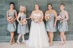 grey bridesmaid looks