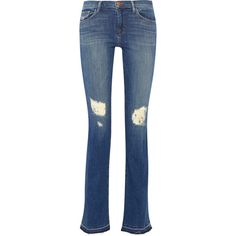 J Brand Brya distressed mid-rise bootcut jeans ($315) ❤ liked on Polyvore featuring jeans, blue, faded jeans, j brand jeans, torn jeans, distressing jeans and boot cut jeans