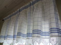 Mia's Lovely Tea towel and Crochet lace kitchen curtains