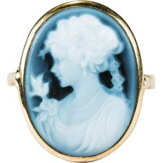 Sweet Blue Bird Girl Cameo Ring  ~  This adorable cameo is a 3D carving of a lovely girl with her little blue bird.  The cameo is carved blue stone