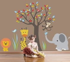 Kids Wall Decal Jungle Wall Sticker  6 by ArtHomeDecals on Etsy, $175.00