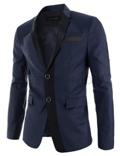 (DMJ104-NAVY) Mens Slim Two-Tone Point Single Breasted Notched Lapel 2 Button Blazer