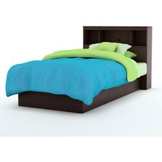 South Shore Smart Basics Twin Platform Bed & Headboard, Chocolate $194 no mattress