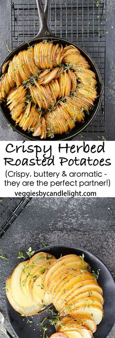 Crispy Herbed Roasted Potatoes - Crispy, buttery and aromatic with fresh herbs, these potatoes are the perfect partner for everything from holiday turkeys to grilled meats and roasted fish (grilled roast recipes) Pork Rib Recipes, Meat And Potatoes Recipes, Jackfruit Recipes, Roast Recipes, Grilling Recipes, Soup Recipes, Recipies, Bbq Pork Ribs, Roasted Potatoes