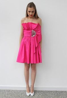 Vintage 1980's Bright Pink Frank Usher Cocktail Dress