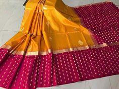 I like sarees with large borders! Indian Silk Sarees, Soft Silk Sarees, Cotton Saree, Ethinic Wear, Banarsi Saree, Yellow Saree, Organza Saree, Elegant Saree, Traditional Sarees
