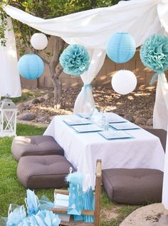 Cute Backyard Party Ideas | Network Panda  Pallets covered with fabric for table-hooka lounge?