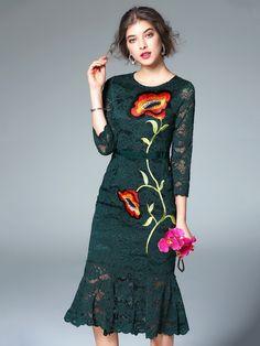 Dark Green Lace Insert Mermaid Embroidery Floral 3/4 Sleeve Bodycon Midi Dress