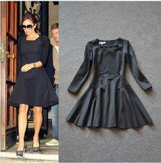 Black Victoria Beckham Full Sleeve & Knee-Length Dress