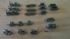 Vintage Pewter Train Engines plus cars 19 total marked R.A.M & S.M.L.
