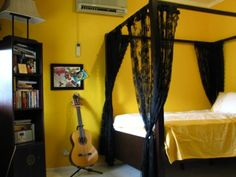 Music Room Yellow, dark vintage mustard color. & I love the black lace, for....something?