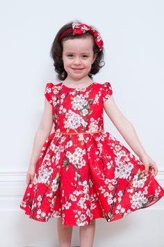 Red Floral Print Damask Dress