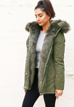 Lucy Oversized Faux Fur Trim Parka with Hood in Light   Green