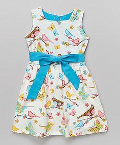 Turquoise & White Lovebird Dress - Infant, Toddler & Girls on #zulily