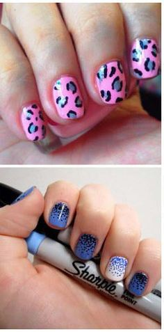 Sharpie for an easily controllable way to create nail art, and here's a super useful trick to keep it from smearing. Use a Sharpie for an easily controllable way to create nail art, and here's a super useful trick to keep it from smearing. Sharpie Nail Art, Nail Art Diy, Easy Nail Art, Diy Nails, Simple Nail Art Designs, Cute Nail Designs, Sharpie Designs, Love Nails, Pretty Nails
