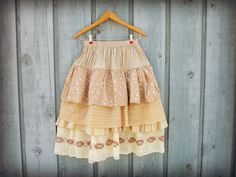 Bohemian Upcycled Full Skirt// Knee Length// Layered by emmevielle, $65.00