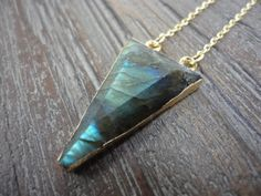 Labradorite Triangle Gold Edged Pendant Necklace/Gold Filled Necklace/Iridescent Blue and Green