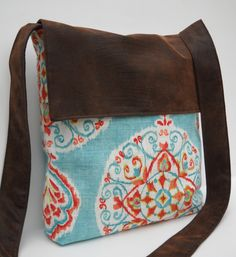 Messenger Bag / Crossbody Bag in Blue and Orange Medallion. $30.00, via Etsy.