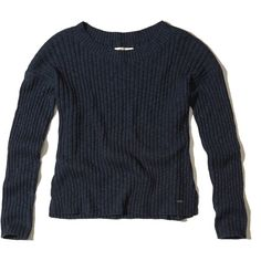 Hollister Slouchy Ribbed Pullover Sweater (¥3,920) ❤ liked on Polyvore featuring tops, sweaters, navy, slouchy sweater, boat neck tops, blue top, pullover sweater and navy blue pullover sweater