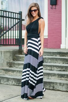 Oh, what a maxi! This striped beauty will help you make a stunning statement this summer, all while remaining totally comfy thanks to the super soft material!  Material has generous amount of stretch.  Miranda is wearing the small.