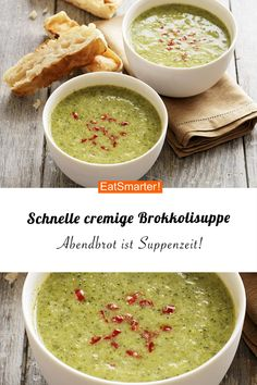 Schnelle Suppe: Cremige Brokkolisuppe If you want to go fast after work, this creamy broccoli soup is exactly what you are looking for! Clean Eating Recipes, Easy Healthy Recipes, Raw Food Recipes, Easy Meals, Broccoli Soup Recipes, How To Cook Eggs, Salad Ingredients, Eat Smarter, Vegetable Dishes