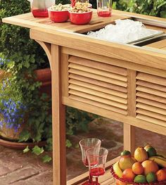 Ready your home to host fabulous outdoor parties this summer with the Teak Bar Cart with Beverage Tub is crafted from grade-A teak and designed for convenience and functionality.
