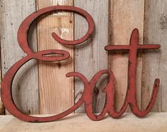 Rustic EAT Sign Shabby Chic Barn Red Wall Hanging Home Decor Photo Prop Cottage Teal Farmhouse Primitive Gift Distressed Aged Style
