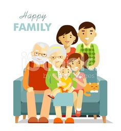 Social concept - happy family three generation together royalty-free stock vector art