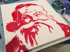 Pottery Barn Santa Christmas glitter canvas knock-off | Chica and Jo
